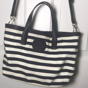 Tory Burch Navy and White Striped Cross Body Bag